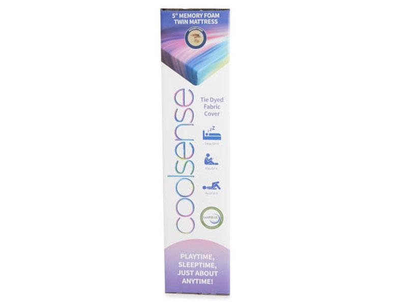 """Twin 5"""" Tie Dyed Memory Foam Mattress-In-A-Box"""